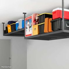 No two garages are the same, so choose a ceiling storage rack with adjustable heights to fit your needs or garage space. Hang a shallow rack above the open garage door and deeper shelf where your garage door track stops to maximize your vertical space. Garage Ceiling Storage, Garage Storage Racks, Garage Organization Tips, Do It Yourself Organization, Overhead Garage Storage, Garage Storage Systems, Garage Shelving, Storage Boxes, Storage Spaces