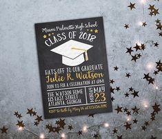 Graduation Invitation. Personalized Printable Chalkboard Graduation Invitation. Class of 2018 Invite. Graduation Invite. 2018 Graduation.