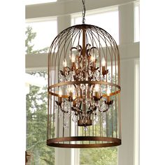 Warehouse of Tiffany Rinee III Cage Chandelier (Antique Bronze), Brown (Crystal)