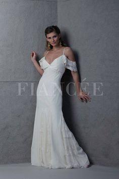 Vestido de novia /wedding dress - con quillas y volados en los hombros