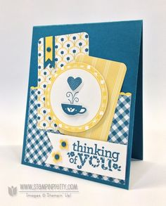 """handmade card ... """"Thinking of you"""" ... luv the blue, yellow, white colors on this card ... designer papers ... cup of steaming heart coffee ... lucv the gingham stamping around the circle ... Stampin' Up!"""