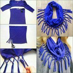 Leuke sjaal. van een oud shirtje waar kleine gaatjes in zitten, niet meer weggooien dus.