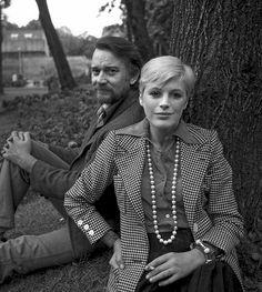 "Marianne Faithfull with Denholm Elliot for their play ""Mad Dog"", 1973 (by Nicholas Salaman)"