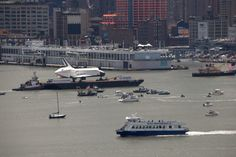 Enterprise with one of our NY Waterway boats! #nyc #hudson #intrepid #nywaterway