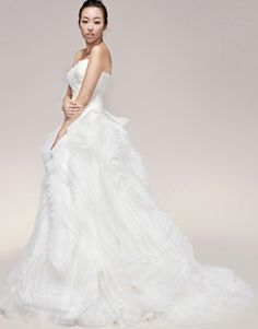 White ball gown strapless ruffled chapel train organza wedding dress  US$334.50