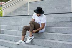 Kosta Williams #Fashion #Street #urban #inspiration #Men #black #white #adidas