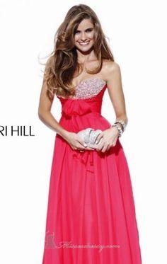 Chiffon Pleated Bodice Evening Gown by Sherri Hill 2873