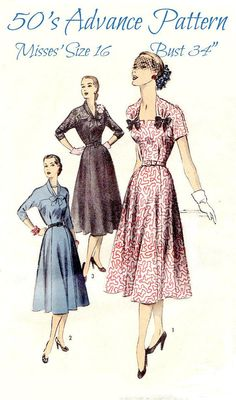 50s Women's Afternoon Dress Sewing Pattern    by KeepsakesStudio, $14.99