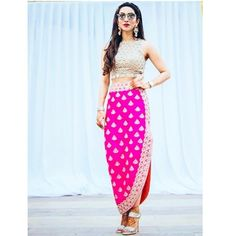 Here's a full length of the lovely Eshanka Wahi at her Mehndi in our hot pink Tulip skirt and our scallop mirror crop top! Indian Wedding Outfits, Indian Outfits, Western Dresses, Indian Dresses, Indian Designer Outfits, Designer Dresses, Stylish Dresses, Fashion Dresses, Lehenga
