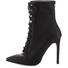 Jeffrey Campbell Elphaba Grainy Leather Lace-Up Bootie ($101) ❤ liked on Polyvore featuring shoes, boots, ankle booties, heels, lace up ankle boots, jeffrey campbell booties, leather ankle boots, ankle boots and heeled booties