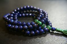 108 ct. 8mm Lapis Mala with Malachite by LobsterIslandBeadery