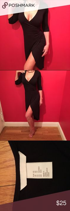H&M BLACK DRESS NWOT Fabulous black dress hugs the curves just right. Bought 2 I liked it so much. All yours. NWOT All my clothes are stored in a separate clean closet but I do have 1 cat so if there is a stray hair. Please excuse me. H&M Dresses
