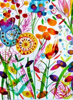 Aquarell - Blumen Kunst Blumen Malerei - ein Designerstück von CelineOriginalArt bei DaWanda