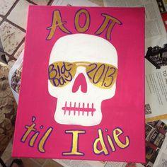 Skull Sorority Canvas Painting by foursevenninecreated on Etsy, $40.00