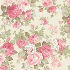 Rose Bouquet Classic Roses Ecru by Quilt Gate USA Cotton Fabric Yardage is part of Cotton bouquet 2 yard in ) or 1 yard in ) increments Fabric is not cut until ordered Stored in a - Shabby Chic Wallpaper, Fabric Wallpaper, Flower Wallpaper, Floral Wall, Floral Fabric, Floral Prints, Cotton Fabric, Cotton Bouquet, Vintage Rosen