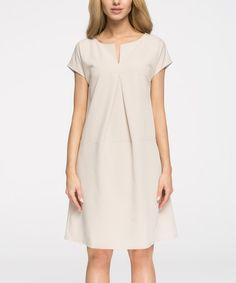 Love this Beige Notch Neck A-Line Dress on #zulily! #zulilyfinds