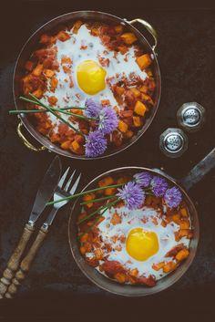 Sweet Potato  Tomato Egg Bake with Chive Flower