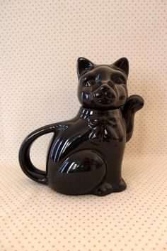 Vintage retro black cat china teapot. 2 cups of by RedLionMary, $16.00
