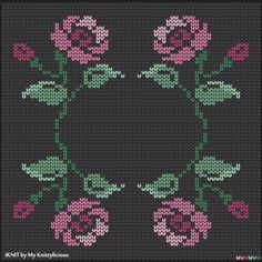 Knitting pattern of the Flower Cross Patterns, Bead Loom Patterns, Knitting Charts, Knitting Patterns, Embroidered Roses, Cross Stitch Rose, Fair Isle Knitting, Loom Beading, Needlework