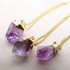 Amethyst Necklace Amethyst Crystal Raw Amethyst by mokamoon