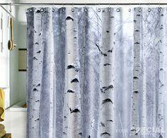 Bath Shower Curtain tree shade birch forest wood