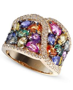 EFFY Collection 14k Gold Ring, Multicolor Sapphire (5 ct. t.w.) and Diamond (3/8 ct. t.w.) Ring, $5,500.00