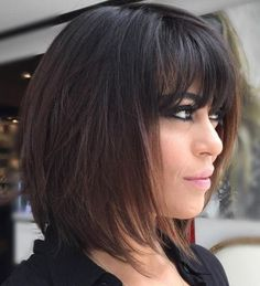 60 Messy Bob Hairstyles for Your Trendy Casual Looks Black Layered Bob With Bangs Layered Bob With Bangs, Medium Layered Haircuts, Medium Hair Cuts, Short Hair Cuts, Medium Hair Styles, Short Hair Styles, Thick Haircuts, Shoulder Length Hair Cuts With Bangs, Medium Layered Bobs