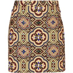 TOPSHOP Embellished Folk Jacquard Skirt ($24) ❤ liked on Polyvore featuring skirts, topshop, multi, knee length a line skirt, jacquard skirt, a line skirt, multicolor skirt and red a line skirt