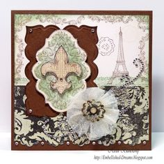 by Heidi Blankenship. JustRite Stamps: BonVoyage (background=frame edge). Paper: Smooth White, Milk Chocolate; Prima Printery. Ink: Memento Rich Cocoa; Ranger Antique Linen (sponging), Bundled Sage (sponging) Distress Inks. Spellbinders: Labels 20, Labels 23 (brown), Classic Triple Scallop (pattern bottom). Extras: Rhinesones: Want2Scrap Swirls Silver, Baby Bling Silver; Clearsnap Pralines/Cream Fairy Dust Glitter, Glue Gloss; Bo Bunny Welcome Home Trinkets; Foam Squares, tape adhesive.