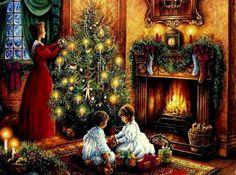victorian christmas images | Victorian Christmas - fireplace, christmas, christmas tree, woman ...