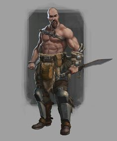 Human Barbarian - Pathfinder PFRPG DND D&D d20 fantasy