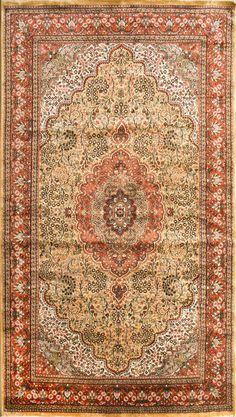 Oriental silk carpet; made in Kashmir (India)