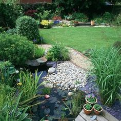 Wildlife pond surrounded by pebbles, water lilies, tall grasses & alpines | housetohome.co.uk #gardenponds