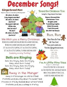 December songs and finger plays! This resource can be used for circle time in a daycare, preschool, Pre-K, or Kindergarten classroom. This is also a great resource to send home with children to sing the seasonal songs with their families. Kindergarten Songs, Preschool Music, Preschool Lessons, Preschool Learning, Preschool Activities, Kindergarten Classroom, Montessori Elementary, Winter Songs For Preschool, Circle Time Ideas For Preschool