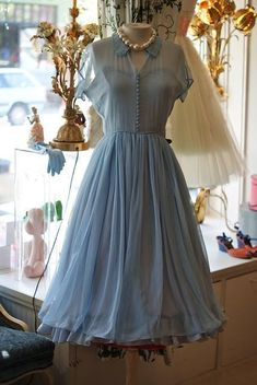 Elegant A-Line Doll Collar Short Sleeves Blue Chiffon Vintage Style Dress by RosyProm, $140.59 USD
