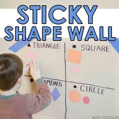 STICKY SHAPE WALL: A simple math activity for toddlers and preschoolers; a shapes activity; shapes with toddlers Math Activities For Toddlers, Classroom Activities, Shape Activities, English Activities, Classroom Ideas, Toddler Fun, Toddler Class, Simple Math, Math Lessons