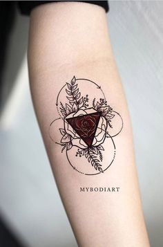 Unique circle rose triangle floral flower forearm tattoo ideas for women Trendy Tattoos, Unique Tattoos, New Tattoos, Body Art Tattoos, Cool Tattoos, Tatoos, Random Tattoos, Feminine Tattoos, Tattoo Sleeve Designs