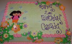 Dora birthday cake - buttercream w/ handmade fondant deco
