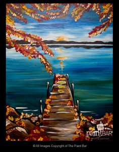 Fall Sunrise by the Dock Painting - Jackie Schon, The Paint Bar