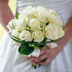 white roses for an elegant classic bouquet, all white wedding