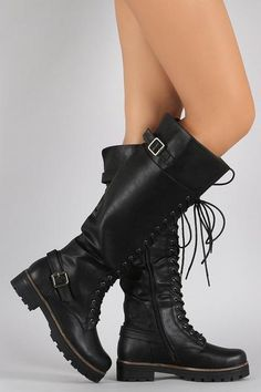 Buckled Combat Lace Up Lug Sole Knee High Vegan Leather Boots
