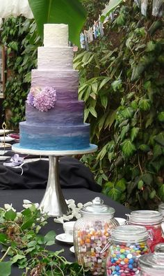 Monet Inspired Tiered Colorful Cake
