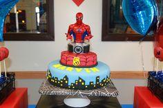 Spiderman cake at a Superhero Birthday Party #superhero #party