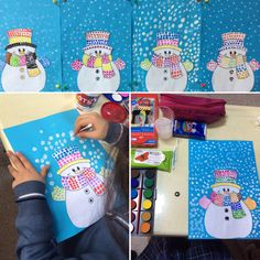 Snowman dot painting. Kulak pamugu ile suluboya baskı kardanadam çalışması