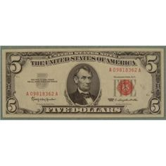 $5 | MEB : 1963 $5 Red Seal Note Five Dollar Bill