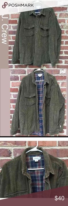 Men's J. Crew Barn Jacket Vintage Coat XL J. Crew Jacket Size XL men's  Great condition Some very slight fading of the lining One area (see photo) where the stitching is more visible--I'm not sure if it's from a repair or if that was an intentional decorative thing Heavy weight shirt Jacket The color is a cross between olive green and brown cord coat J. Crew Jackets & Coats