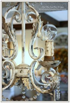 Faux Finish-French Chandelier Makeover-Chalk Paint- From My Front Porch To Yours Painted Chandelier, French Chandelier, Beaded Chandelier, Vintage Chandelier, Kitchen Chandelier, Painting Chandeliers, Chandelier Lighting, Brass Chandelier Makeover, Chandelier Ideas