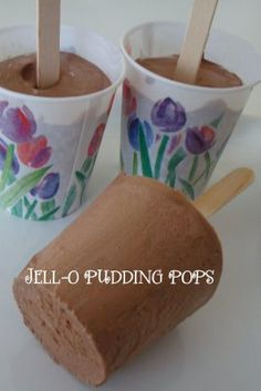 JELL-O Homemade Pudding Pops 2 cups Cold Milk 1 pkg. serving size) JELL-O Chocolate Flavor Instant Pudding and Pie Filling 1 cup Cool Whip 5 Paper or Plastic Cups 5 Popsicle sticks Frozen Desserts, Frozen Treats, Just Desserts, Delicious Desserts, Yummy Food, Jello Pudding Pops, Chia Pudding, Frozen Pudding Pops, Chocolate Pudding Pops