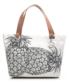 Another great find on #zulily! emilie m. White Pineapple Aimee Canvas Tote by emilie m. #zulilyfinds