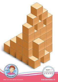 Bouwkaart 10 moeilijkheidsgraad 5 voor kleuters, kleuteridee, Preschool card building blocks with toddlers 10, difficulty 5, free printable.